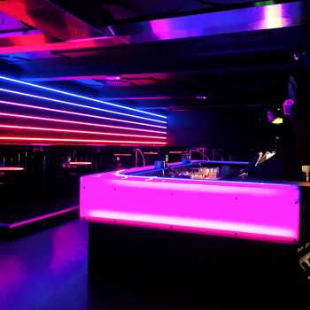 INK Nightclub, Nottingham. In addition to mirrors and painted glass we also supplied & installed these 12mm toughened glass, satin filmed worktops. The LED lights really set this off!