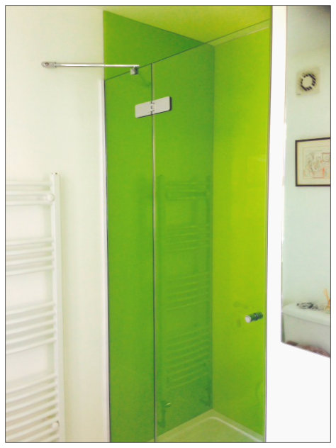 Shower screens doors nottingham lee glass and glazing for Coloured glass panels