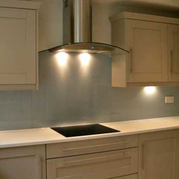 Farrow & Ball Parma Grey as chosen by our customer to complete their modern and stylish kitchen in Colston Bassett.