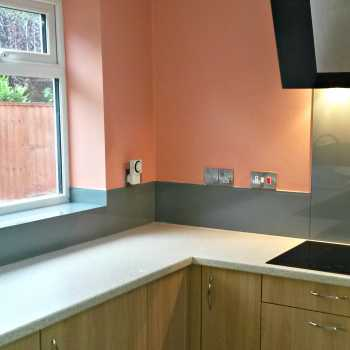 Our customer in Ilkeston chose to have his upstands painted RAL 7037 to compliment his work surfaces of similar colour.