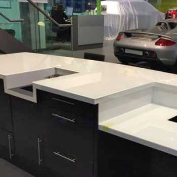 Toughened painted glass worktops supplied for the Porsche Centre in Solihull