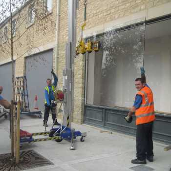 This photo was taken back in 2010 when we did a lot of work for the clothing store Next who were refurbishing their stores up and down the country (in this case, Oxford). The glass had to be specially ordered from Glasgow because of its sheer size, and we were required to use heavy lifting equipment as one piece of glass weighed up to a third of a tonne!