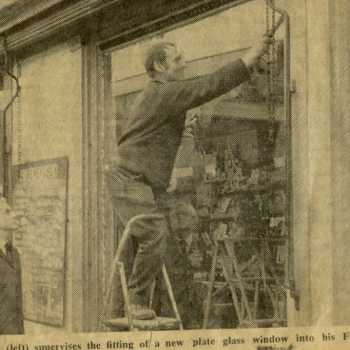 Terry Lee making his Nottingham Evening Post debut as he installs a shopfront at the old 'Dewey's' shop in Arnold. This article would have been published in the late 1960's shortly after Lee Glass & Glazing was founded in 1967.