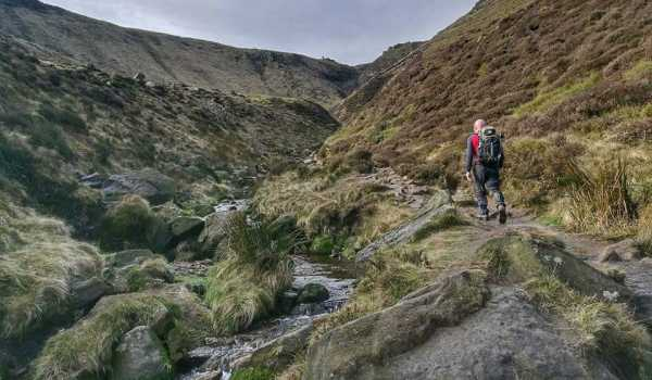 Danny making the ascent up to Kinder Scout on a recent training weekend